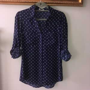 Express Portofino Shirt Navy w/ Anchors Nautical